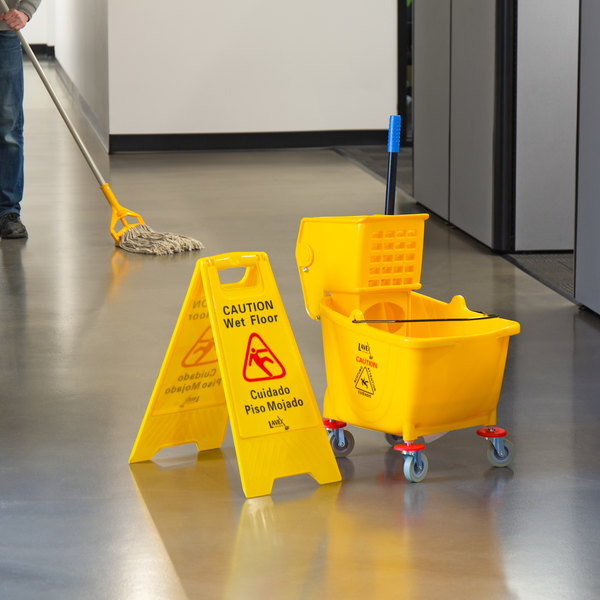 Lavex Janitorial Wet Mop Kit with 35 Qt. Yellow Mop Bucket, Wet Floor Sign, Mop Head, and Handle Main Image 2