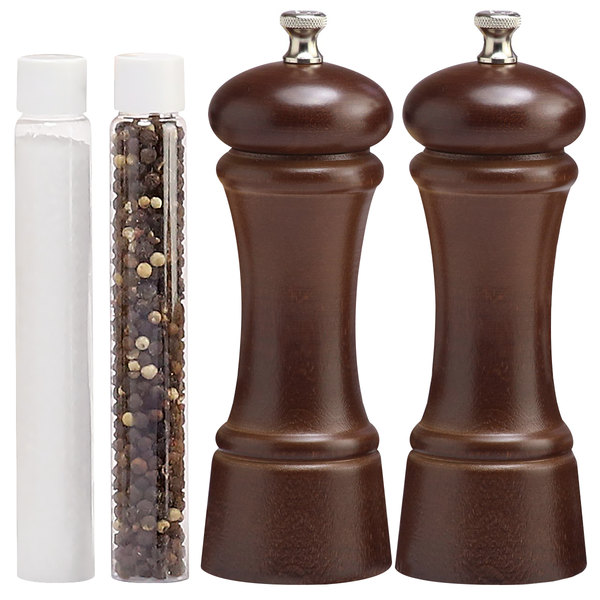 Chef Specialties 6 Inch Elegance Walnut Pepper Mill and Salt Shaker Set 06100