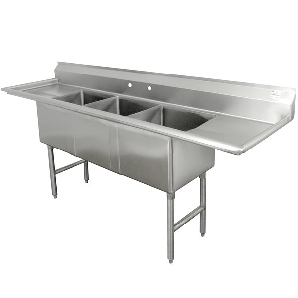 Advance Tabco FC-3-1824-18RL Three Compartment Stainless Steel Commercial Sink with Two Drainboards - 90""