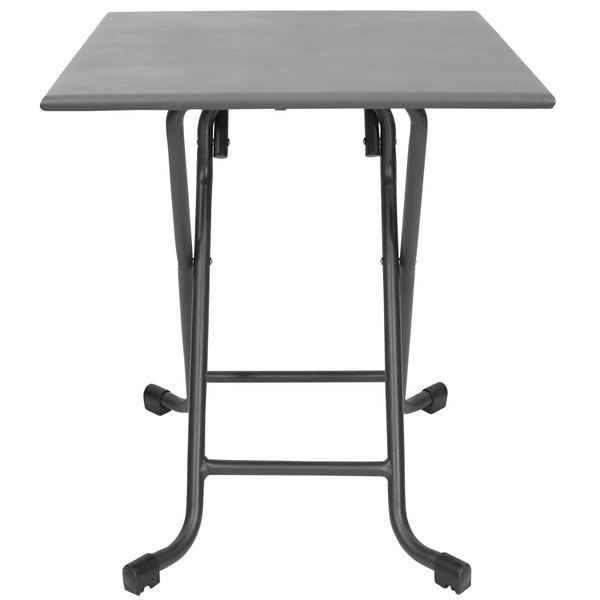 """BFM Seating MSG2828FSG 28"""" Groove Square Soft Gray Aluminum Folding Table"""