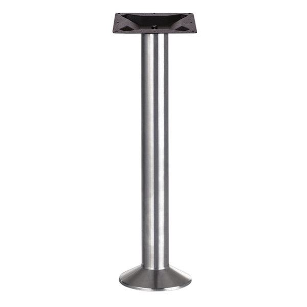 BFM Seating PHTBBDSVT Alpha Bolt-Down Bar Height Outdoor / Indoor Silver Table Base Main Image 1