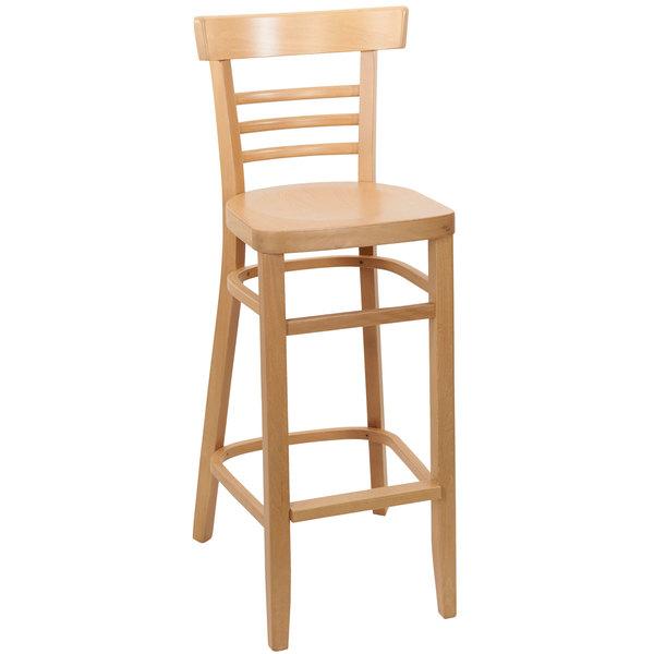 BFM Seating ZWB66NT-NT Giulia Natural Beechwood Bar Height Chair Main Image 1