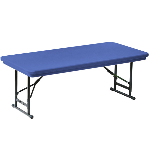 "Correll Adjustable Height Folding Table, 30"" x 72"" Plastic, Blue - Short Legs - R-Series RA3072S"