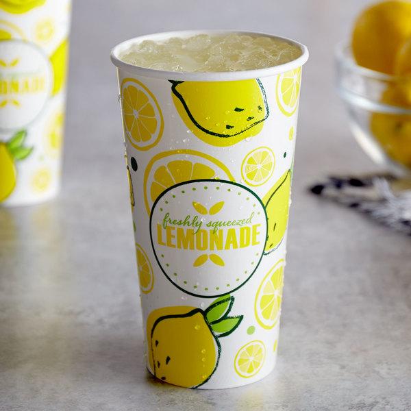Carnival King 32 oz. Poly Paper Lemonade Cup - 50/Pack Main Image 2