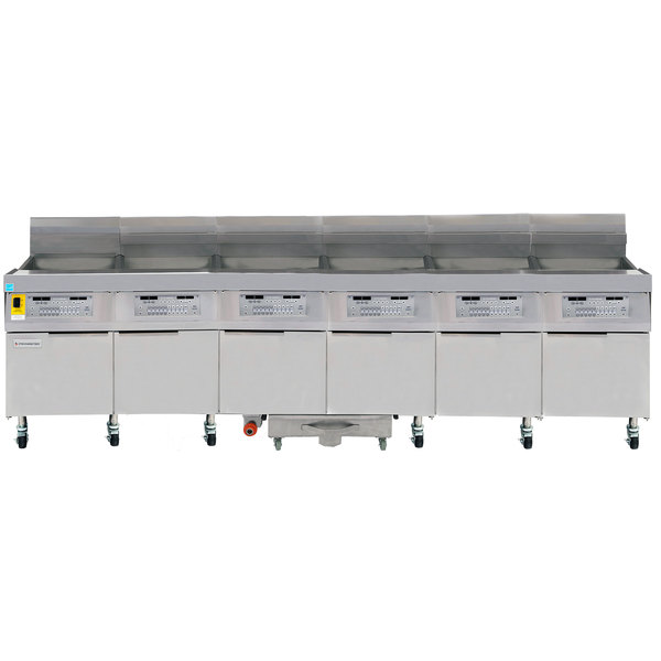 Frymaster FPLHD665 100 lb. Natural Gas Six Unit Floor Fryer with SMART4U 3000 Controls and Filtration System - 630,000 BTU Main Image 1