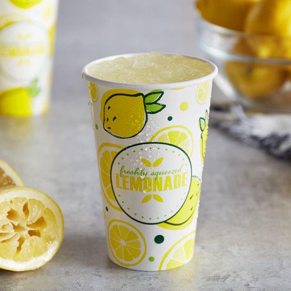 Carnival King 16 oz. Poly Paper Lemonade Cup - 50/Pack Main Image 2