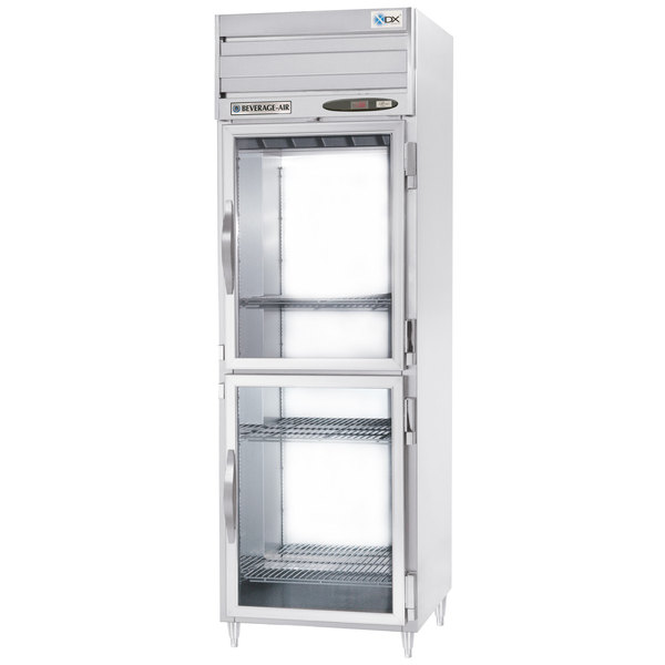 "Beverage-Air PRD1-1BHG-LED 26"" Stainless Steel Glass Half Door Pass-Through Refrigerator"