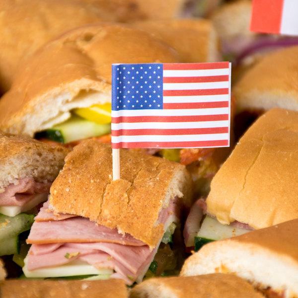 "Royal Paper R827 2 1/2"" American Flag Food Pick - 100/Pack"