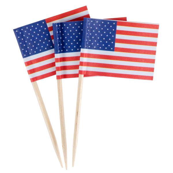 "Royal Paper R827 2 1/2"" American Flag Food Pick"