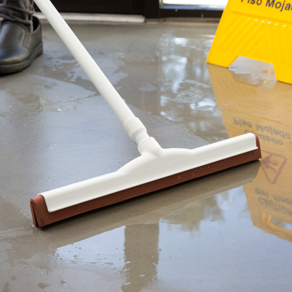 """Carlisle 36691800 Flo-Pac 18"""" Red Double Neoprene Foam Floor Squeegee with Plastic Frame Main Image 3"""