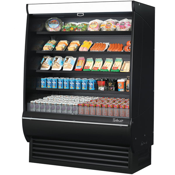 """Turbo Air TOM-60DXB-SP-A-N 60"""" Black Extra Deep Refrigerated Air Curtain Merchandiser with Black / Mirrored Interior and Solid Side Panels Main Image 1"""