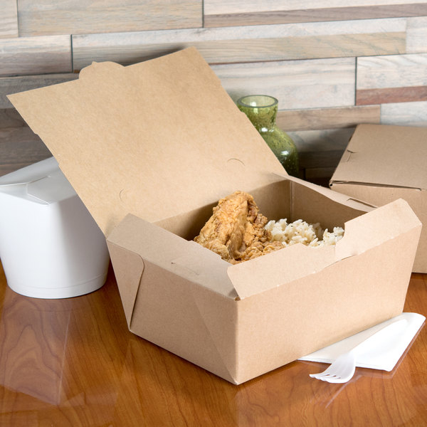 """Microwavable Paper #4 Take Out Box 7 3/4"""" x 5 1/2"""" x 3 1/2"""" - 40/Pack"""