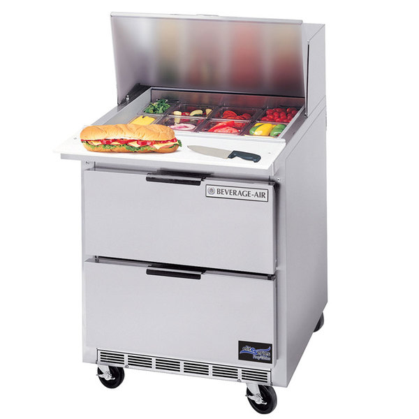"Beverage-Air SPED27C-A Elite Series 27"" 2 Drawer Cutting Top Refrigerated Sandwich Prep Table with 17"" Deep Cutting Board"