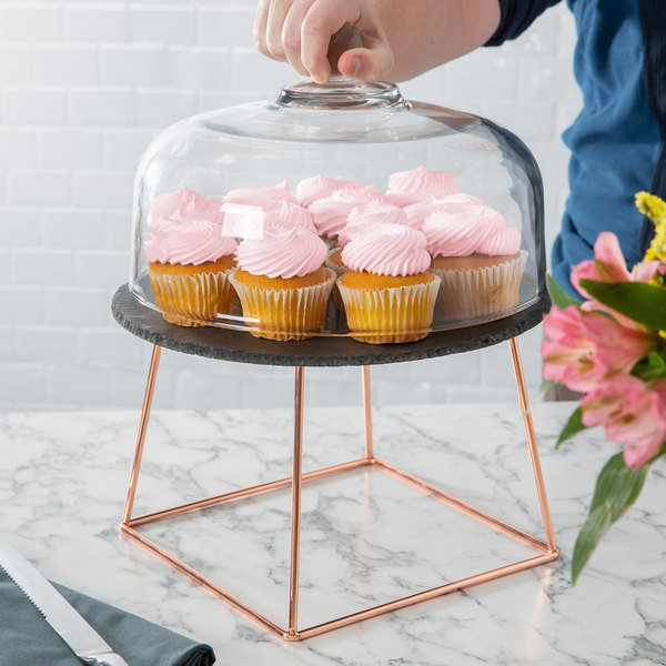 """Acopa 12"""" Slate Rose Gold Wire Riser Cake Display Set with 7"""" Display Stand Main Image 3"""