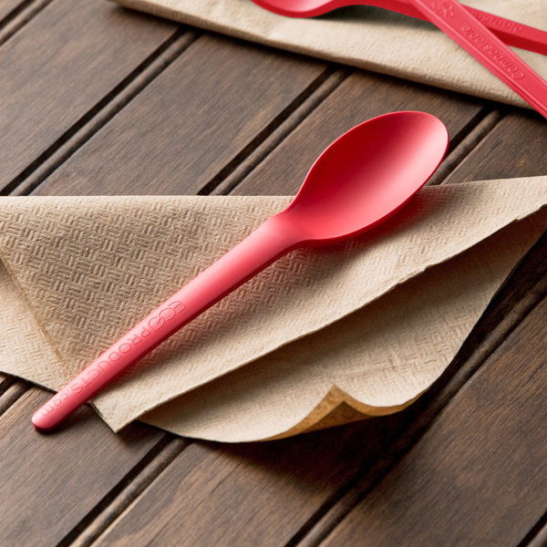 """Eco Products EP-S013C Plantware 6"""" Coral Compostable Plastic Spoon - 1000/Case Main Image 3"""
