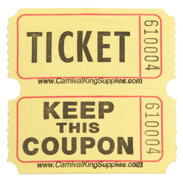Carnival King Yellow 2-Part Raffle Tickets - 2000/Roll