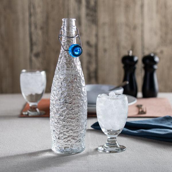 Libbey 13150122 34 oz. Glacier Oil / Vinegar / Water Bottle with Blue Wire Bail Lid - 6/Case