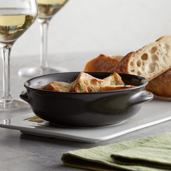 Acopa Keystone 13 oz. Caldera Porcelain Onion Soup Crock - 6/Case Main Image 2