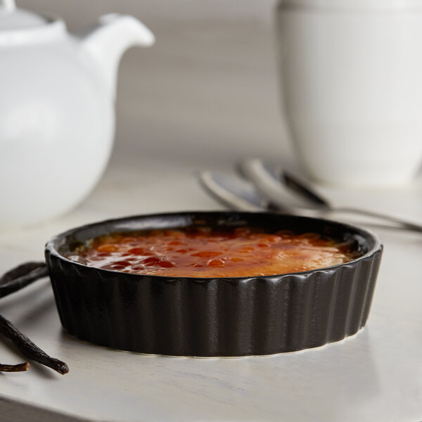 Acopa Keystone 6 oz. Caldera Porcelain Souffle / Creme Brulee Dish - 6/Case Main Image 3