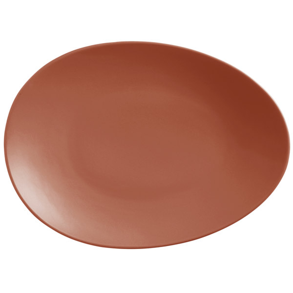"World Tableware DRI-8-C Driftstone 13 3/4"" x 10 1/8"" Clay Satin Matte Organic Porcelain Coupe Plate - 12/Case"