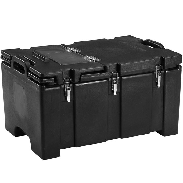"Cambro 100MPCHL110 Camcarrier Black Top loading Pan Carrier with Hinged Lid for 12"" x 20"" Food Pans"