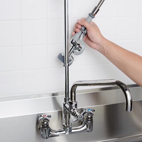 """T&S B-0287 EasyInstall Wall Mounted 38 1/4"""" High Pre-Rinse Faucet with Adjustable 8"""" Centers, 44"""" Hose, and 12"""" Add-On Faucet"""