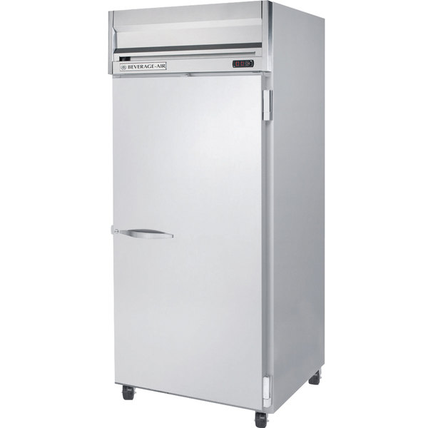 """Beverage Air HFS1W-1S 35"""" Horizon Series Wide One Section Solid Half Door Reach in Freezer with Stainless Steel Interior - 34 cu. ft."""