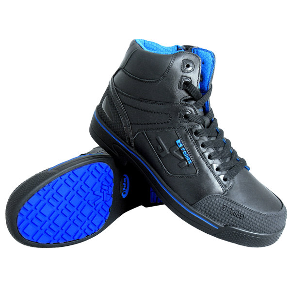 Genuine Grip 5010 Stealth Men's Black and Blue Laced Non Slip Shoe with Composite Toe and Side Zipper Main Image 1