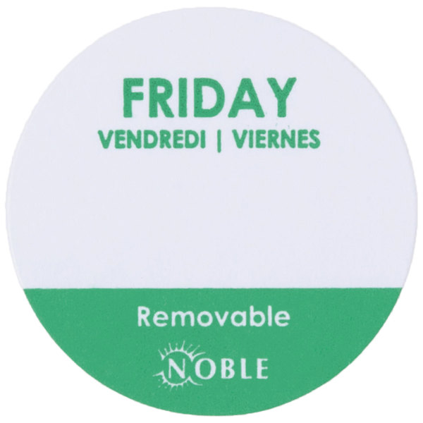 Noble Products Friday 1 inch Removable Day of the Week Label  - 1000/Roll