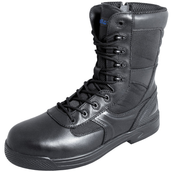 Genuine Grip 5080 Skynight Men's Black Composite Toe Non Slip Full Grain Leather Tactical Boot with Zipper Lock