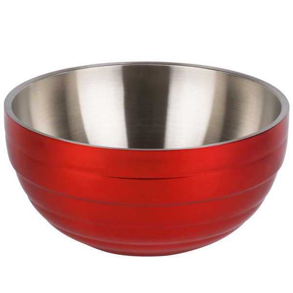 Vollrath 4659055 Double Wall Round Beehive 1.7 Qt. Serving Bowl - Fire Engine Red