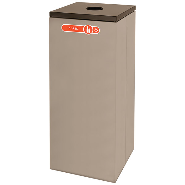 Rubbermaid FGNC36 Collect-A-Cube 34.5 Gallon Beige Recycling Receptacle
