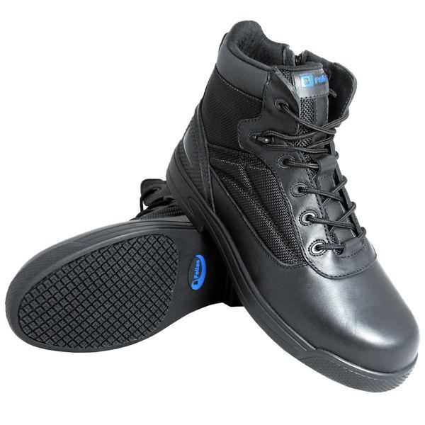 Genuine Grip 5060 Thunderbolt Men's Black Composite Toe Non Slip Full Grain Leather Tactical Boot with Zipper Lock