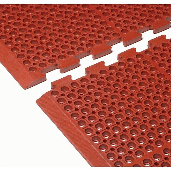 "Cactus Mat 4420-RCWB VIP Duralok 3' 2"" x 5' 1"" Red Center Interlocking Grease-Resistant Anti-Fatigue Anti-Slip Floor Mat with Beveled Edge - 3/4"" Thick Main Image 1"