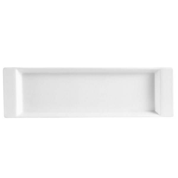 "CAC F-3S Fortune 12"" x 3 1/2"" Rectangular Porcelain Tasting Tray with Handles - White - 24/Case"