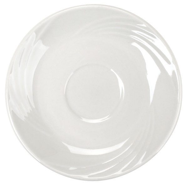 "CAC GAD-55 Garden State 5 1/4"" Bone White Porcelain Saucer - 36/Case"