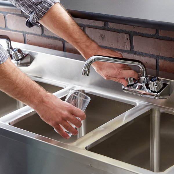 """Regency 4 Bowl Underbar Sink with Two Faucets and Two Drainboards - 72"""" x 18 3/4"""" Main Image 4"""