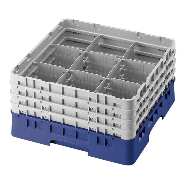 "Cambro 9S318168 Blue Camrack Customizable 9 Compartment 3 5/8"" Glass Rack"