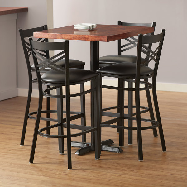 Lancaster Table Seating 30 Square Recycled Wood Butcher Block Bar Height Table With 4 Black Cross Back Chairs Mahogany