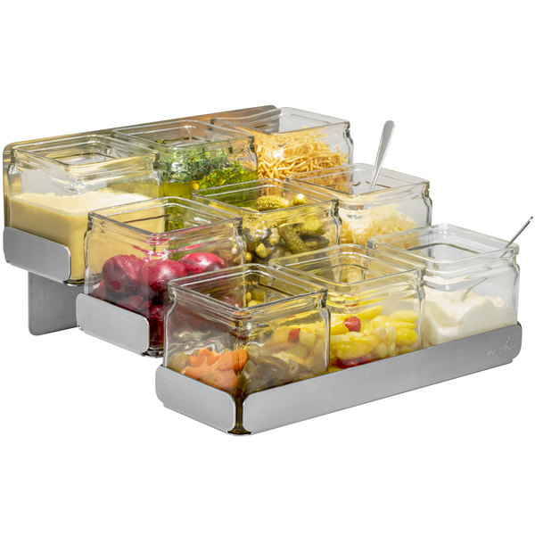 Rosseto SM323 Stainless Steel 3-Level Condiment Station with 9 Glass Jars Main Image 1