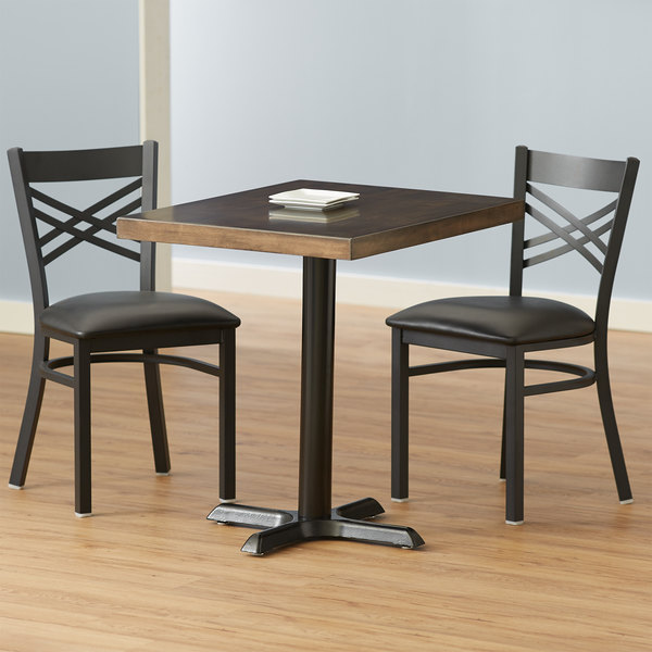 Lancaster Table Seating 24 X 30 Recycled Wood Butcher Block Dining Height Table With 2 Black Cross Back Chairs Espresso