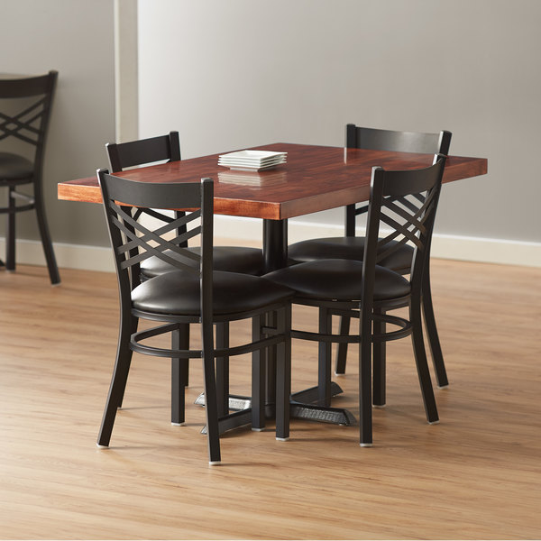 Lancaster Table Seating 30 X 48 Recycled Wood Butcher Block Dining Height Table With 4 Black Cross Back Chairs Mahogany