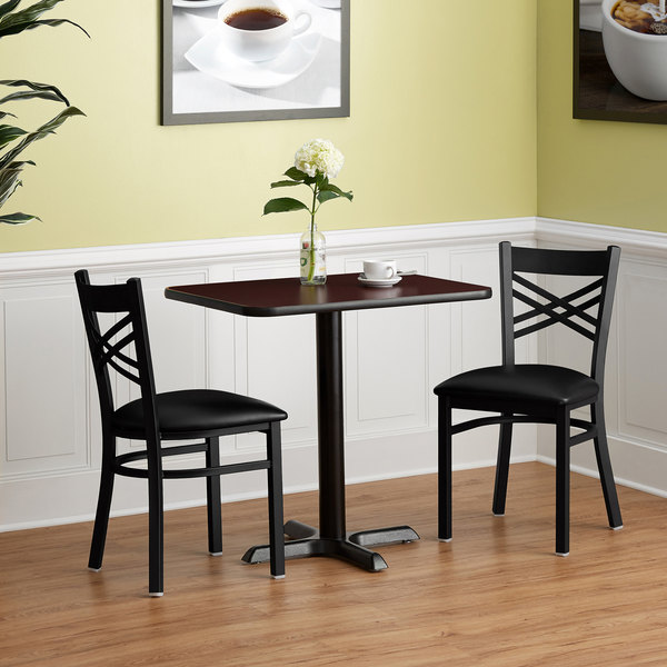 Lancaster Table Seating 24 X 30 Reversible Cherry Black Standard Height Dining Set With 2 Crossback Chairs