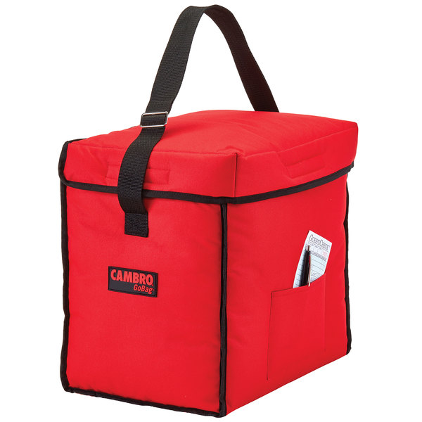 """Cambro GBD13913521 Insulated Red Small Top Loading GoBag™ - 13"""" x 9"""" x 13"""""""