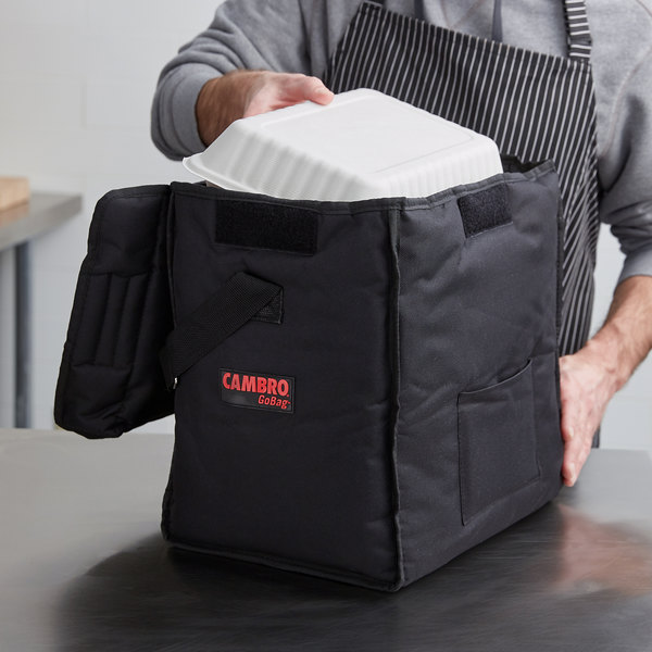 """Cambro GBD13913110 Customizable Insulated Black Small Top Loading GoBag™ - 13"""" x 9"""" x 13"""" Main Image 4"""