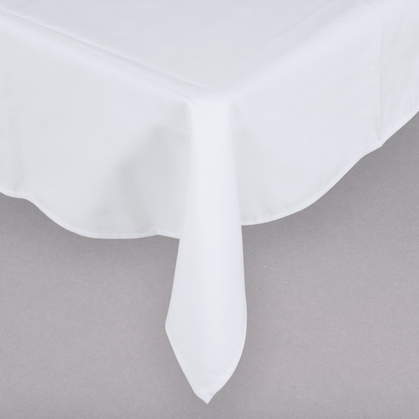 "54"" x 54"" White Hemmed Polyspun Cloth Table Cover"