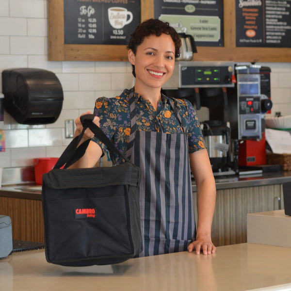 """Cambro GBD101011110 Insulated Black Small Folding Delivery GoBag™ - 10"""" x 10"""" x 11"""""""