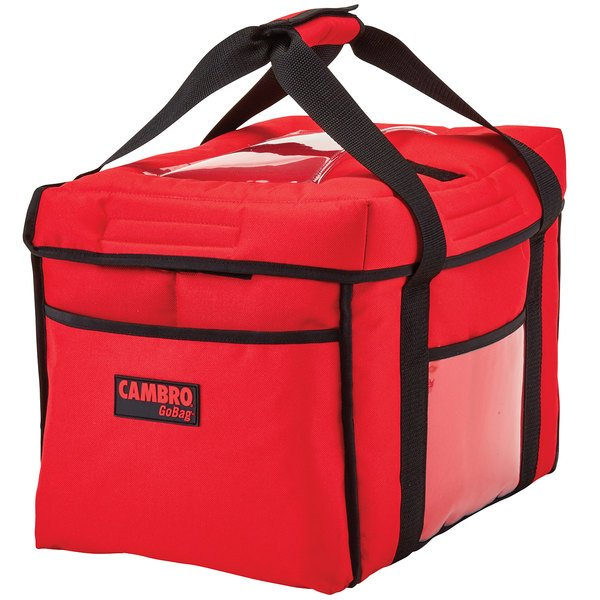 "Cambro GBD151212521 Insulated Red Sandwich GoBag™ - 15"" x 12"" x 12"""