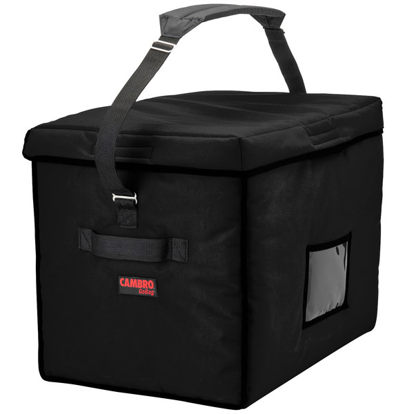 "Cambro GBD211517110 Insulated Jumbo Black Stadium Delivery GoBag™ - 21"" x 15"" x 17"""