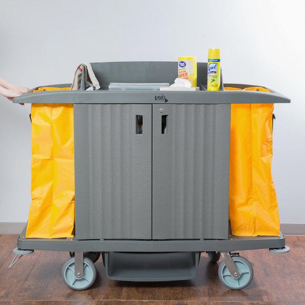 Lavex Lodging Hotel / Housekeeping Cart - Large Locking Three Shelf Main Image 4